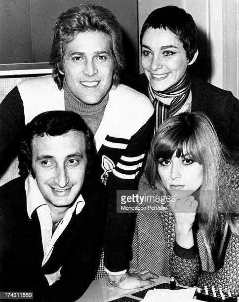 Italian singers Marina Occhiena Angela Brambati Angelo Sotgiu and Franco Gatti posing smiling They form the band Ricchi e Poveri Milan 1970s