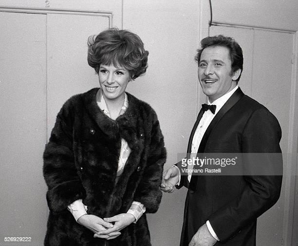 Italian singers Ornella Vanoni and Domenico Modugno attend the Sanremo Music Festival