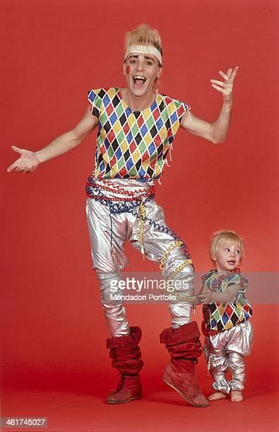Italian singersongwriter Alberto Camerini posing wearing a Harlequin costume 1982