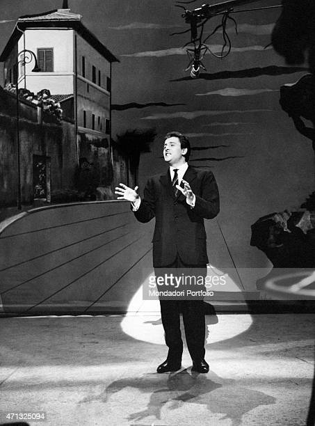 Italian singersongwriter and actor Domenico Modugno performing at The Ed Sullivan Show New York 1958