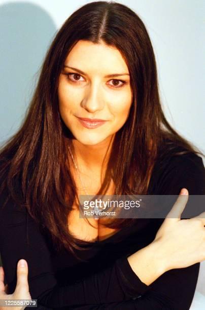Italian singersongwriter and TV personality Laura Pausini TV Studio Hilversum Netherlands 17th October 2000