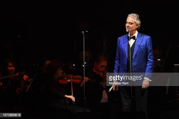 Italian singer-songwriter Andrea Bocelli in Concert at Madison Square Garden on December 13, 2018 in New York City.