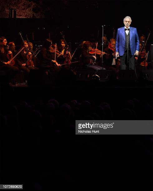 Italian singersongwriter Andrea Bocelli in Concert at Madison Square Garden on December 13 2018 in New York City