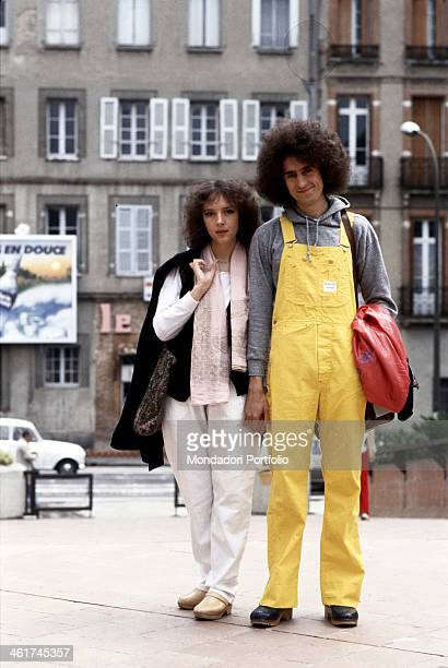 Italian singersongwriter Angelo Branduardi posing hand in hand with his wife Luisa Zappa 1981