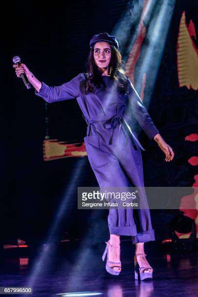 Italian singersongwriter Claudia Lagona best known as Levante performs on stage for CocaCola OnStage Awards on March 25 2017 in Milan Italy