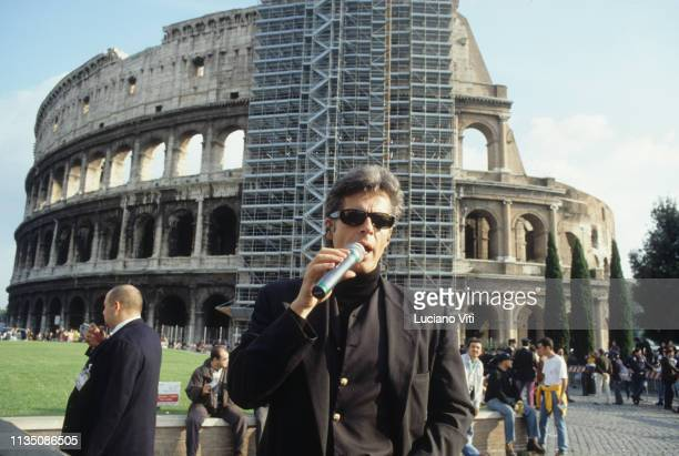 Italian singer-songwriter Claudio Baglioni during a soundcheck at Coliseum, Rome, Italy, 1996.