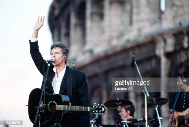 Italian singersongwriter Claudio Baglioni performing in front of Colosseum Rome Italy 1996