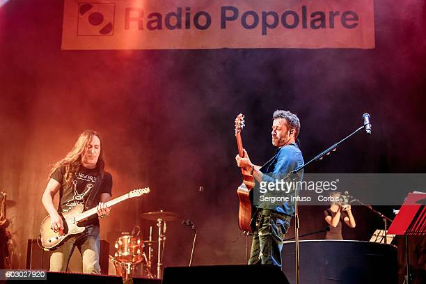 Italian singersongwriter Daniele Silvestri and Manuel Agnelli of Italian alternative rock band Afterhours perform live at CarroPonte in Milan Italy...