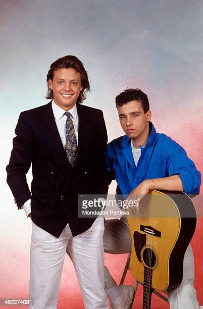 Italian singersongwriter Eros Ramazzotti posing with the Mexican singer Luis Miguel Italy 1985