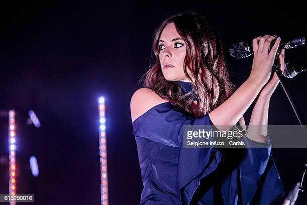 Italian singersongwriter Francesca Michielin performs on stage at Fabrique on October 6 2016 in Milan Italy