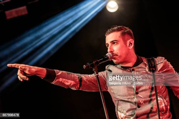 Italian singersongwriter Francesco Gabbani performs on stage for CocaCola OnStage Awards on March 25 2017 in Milan Italy