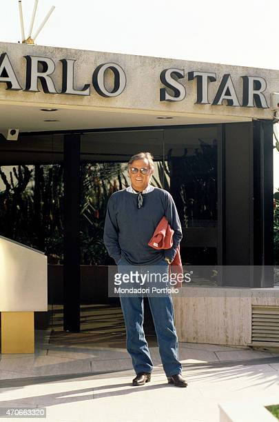 Italian singersongwriter Franco Califano posing smiling hands in pockets Monaco 1994