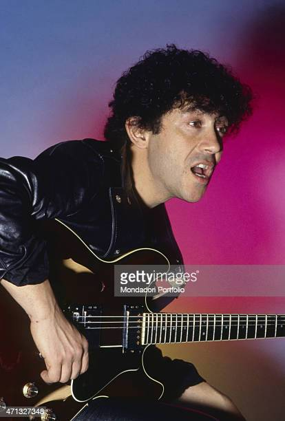Italian singersongwriter guitarist and theatre artist Alberto Camerini singing Italy 1981