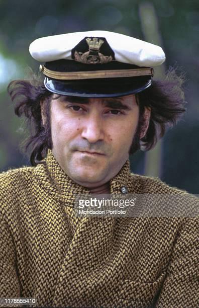Italian singersongwriter Ivan Graziani wearing a sailor cap 1981