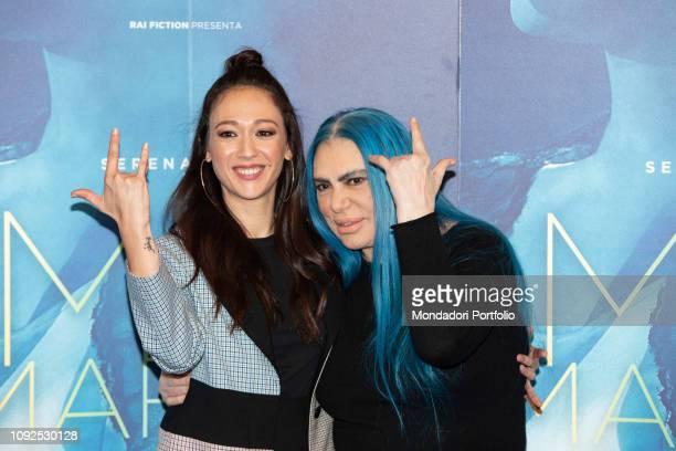 Italian singersongwriter Loredana Bertè and Dajana Roncione at the press conference for the presentation of the film Io sono Mia dedicated to Mia...