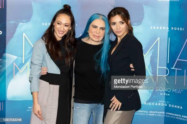 Italian singersongwriter Loredana Bertè Dajana Roncione and Serena Rossi at the press conference for the presentation of the film Io sono Mia...