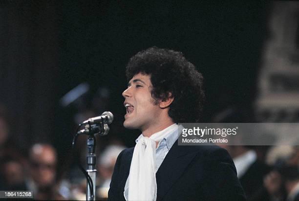 Italian singersongwriter Lucio Battisti performing the song Un'avventura at the 19th Sanremo Music Festival Sanremo January 1969