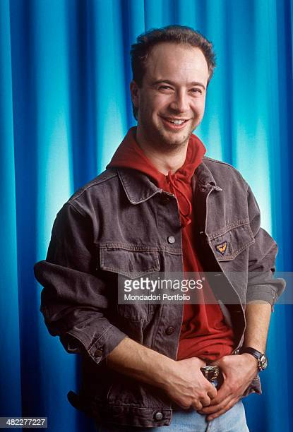 Italian singersongwriter Marco Masini posing smiling for a photo session during the 41st Sanremo Music Festival Sanremo February 1991