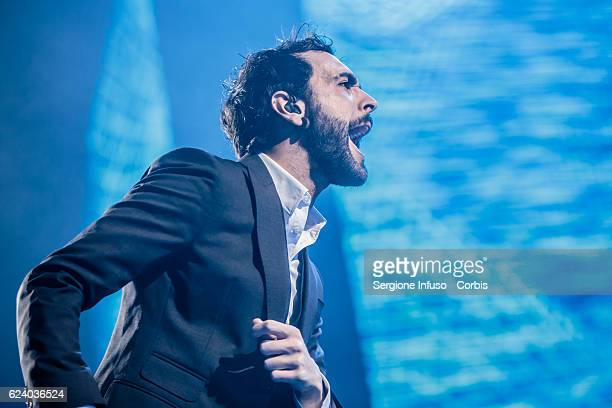 Italian singer-songwriter Marco Mengoni performs on stage on November 16, 2016 in Milan, Italy.
