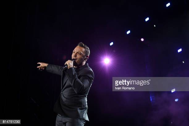 Italian singersongwriter producer and author Tiziano Ferro performs on stage at Arechi Stadium for 'Il mestiere della vita tour' on July 12 2017 in...