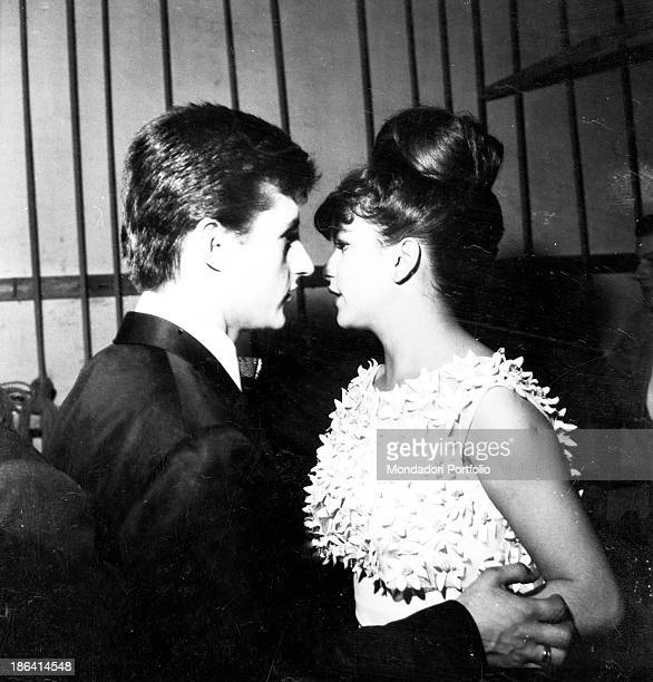 Italian singersongwriter Tony Renis and Italian singer and actress Milva relaxing in the backstage at the 12th Sanremo Music Festival Sanremo 8th...