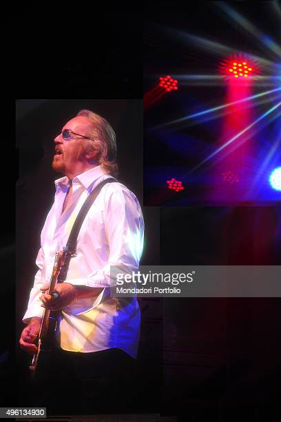 Italian singer-songwriter Umberto Tozzi during a concert of his last tour. Italy, 2014