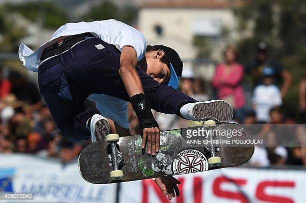 Italian skater Ivan Federico takes part in qualifying rounds of the French stage of the World Cup Skateboarding ISU during the Sosh Freestyle Cup...