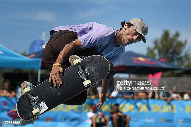 Italian skater Matteo Storelli takes part in qualifying rounds of the French stage of the World Cup Skateboarding ISU during the Sosh Freestyle Cup...