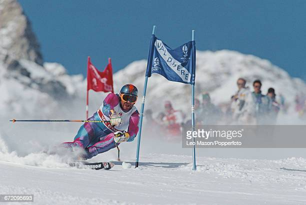 Italian skier Alberto Tomba pictured in action to finish in first place to win the gold medal in the Men's giant slalom skiing event held at Val...