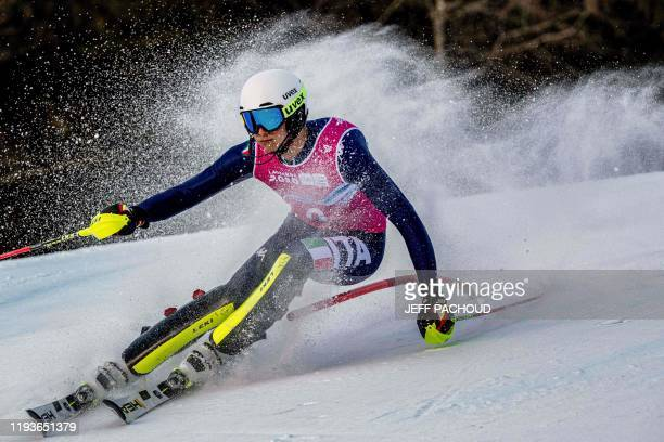 Italian skier Marco Abbruzzese competes in the mens alpine skiing slalom of Lausanne 2020 Winter Youth Olympic Games on January 14 2020 in les...