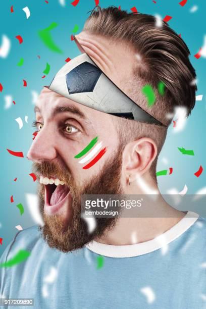 Italian soccer fan with football inside the head