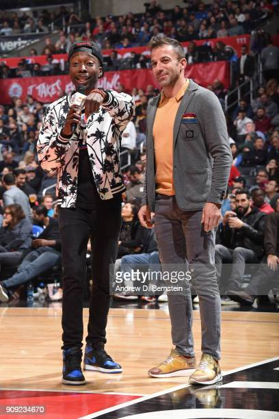 Italian soccer legend Alessandro Del Piero attends the Minnesota Timberwolves game against the LA Clippers on January 22 2018 at STAPLES Center in...
