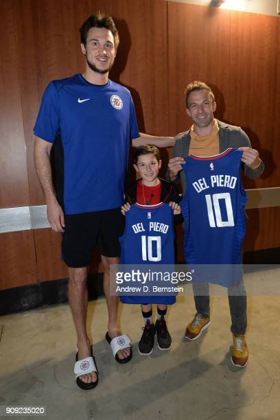 Italian soccer legend Alessandro Del Piero poses for a photo with Danilo Gallinari of the LA Clippers in the hallway before the game against the...