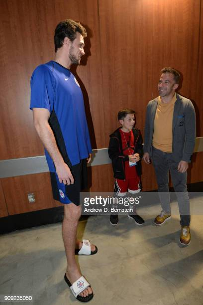 Italian soccer legend Alessandro Del Piero talks with Danilo Gallinari of the LA Clippers in the hallway before the game against the Minnesota...