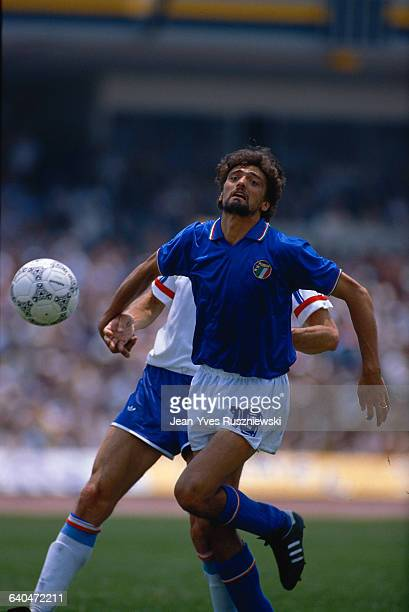 Italian soccer player Alessandro Altobelli goes for the ball during a game against France