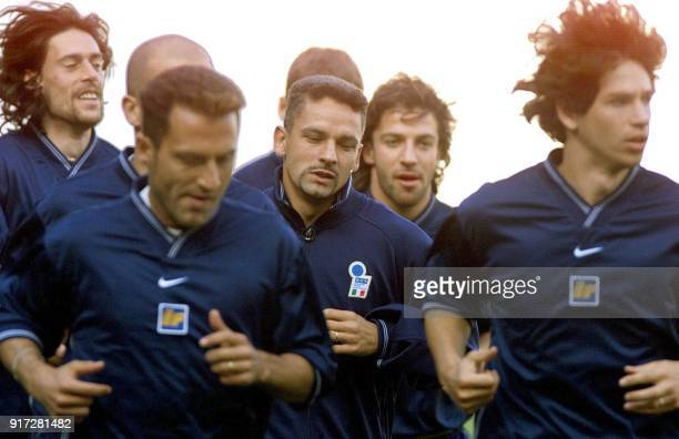 Italian soccer players Moreno Torricelli Angelo Di Livio Roberto Baggio Alessandro Del Piero and Demetrio Albertini run during a training session at...