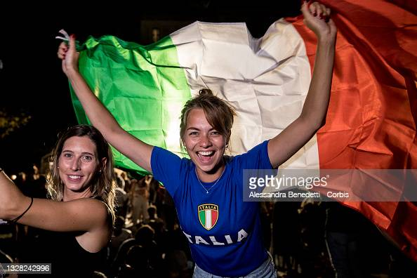 Italian soccer team supporters celebrate the victory against England...