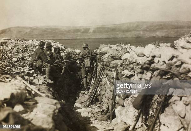 Italian soldiers in a trench on the Karst World War I Italy 20th century