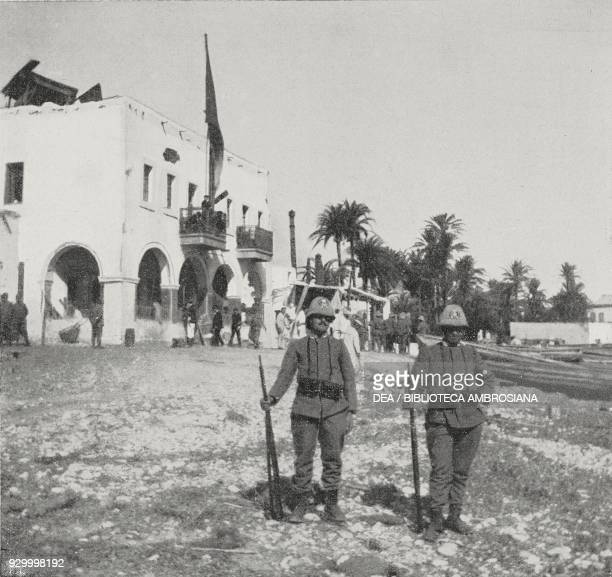 Italian soldiers in front of the command centre in Derna port the house served as a safehouse for the Italian community during the bombing Libya...