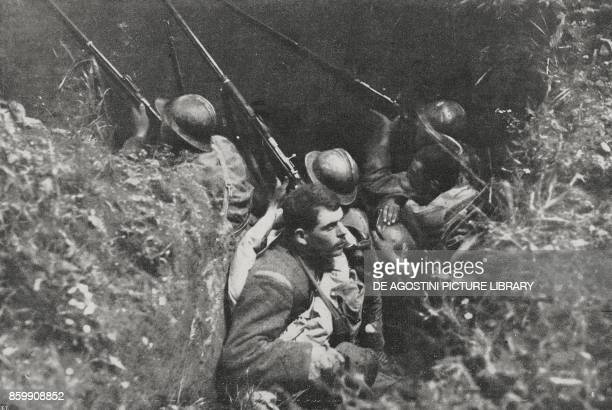 Italian soldiers in trenches at Montello Battle of Piave Italy World War I from l'Illustrazione Italiana Year XLV No 27 July 7 1918