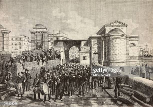 Italian soldiers leaving the Arsenale escorted by the military band Naples Italy third Italian expedition in the Red Sea engraving from a drawing by...