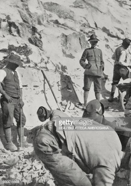 Italian soldiers making a road in the rocky hills around Derna Libya ItalianTurkish war photograph by E Cauda from L'Illustrazione Italiana Year...