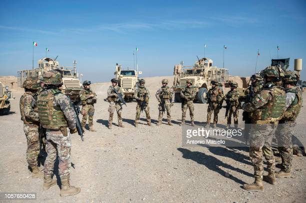 Italian soldiers of the 11° Reggimento Genio Guastatori after checking the streets in Herat area during a route clearance operation on November 5...