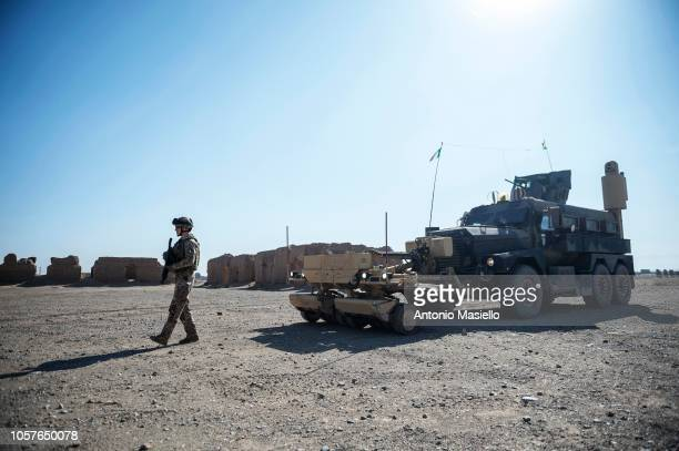 Italian soldiers of the 11° Reggimento Genio Guastatori check the streets in Herat area during a route clearance operation on November 5 2018 in...