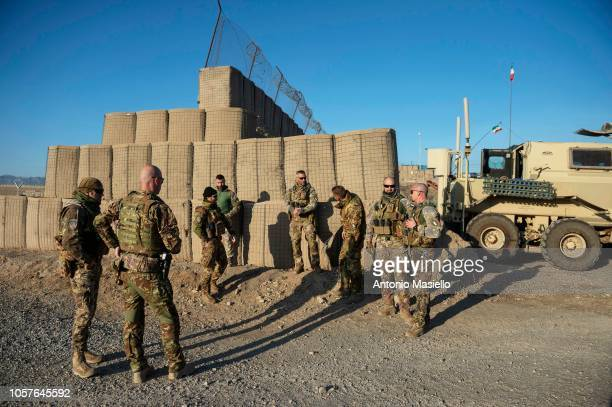 Italian soldiers of the 11° Reggimento Genio Guastatori get ready for a route clearance operation on November 5 2018 in Herat Afghanistan The Italian...