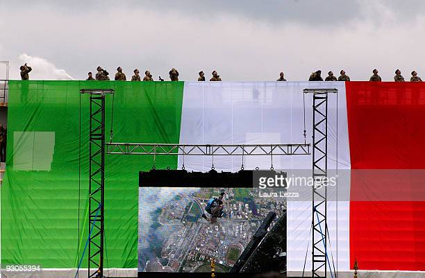 Italian soldiers of the Folgore Parachute Brigade attend a ceremony to mark the 67th anniversary of The Battle of El Alamein at Stadio Armando Picchi...