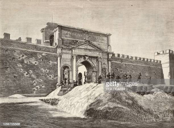 Italian soldiers pointing their rifles to Porta Pia gate September 21 Capture of Rome Italy engraving from L'Illustrazione Italiana year 12 no 38...