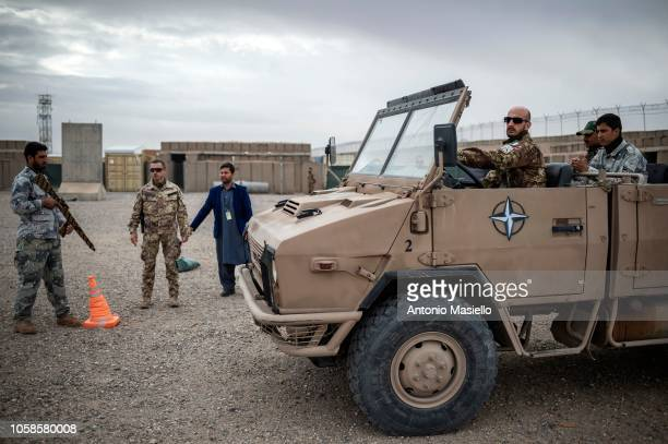 Italian soldiers train the instructors of the Afghan National Defense Security Forces during a OMNIA operation on November 7 2018 in Herat...