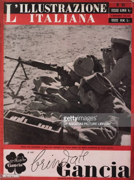 Italian soldiers using automatic firearm to repel an attack in the Southern sector on the Egyptian front North African Campaign Second World War from...