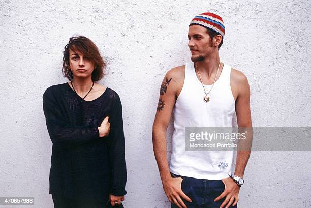 'Italian songwriters Gianna Nannini and Jovanotti pose together against a white wall the two artists have recently collaborated to the song ''Radio...